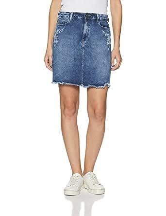 DJ&C By fbb Women's Asymmetric Mini Skirt (1001218439_Indigo_26)