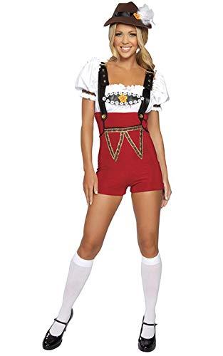 Bayrisches Girl Bier Kostüm - Perfectii Damen Trachten Shorts Kostüm Oktoberfest Bayrisch Deutsche Bier Fest Trachten-Hose Bayern-Hose Damen Damenkostüm