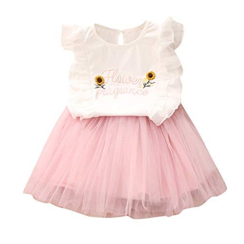 squarex  Baby Mädchen Prinzessin Kleid Kleinkind Blume Spitze Tüll Tutu Rock Kinder Party Rock Set Mädchen ärmellose Buchstaben Sonnenblume Stickerei T-Shirt