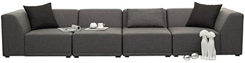 FabHomeDecor Alia Modular Five Seater L-Shaped Sofa (Grey)