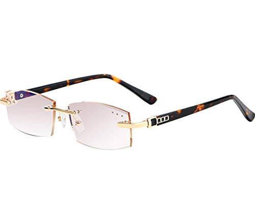 JSHFD Männer Diamond Cut-Edge rahmenlose Anti-Blaue Lesebrille Computer Eyewear Blendschutz Anti-Ermüdungs-Anti-UV-Brille for Smartphones oder Fernseher (Color : Brown, Size : 1)