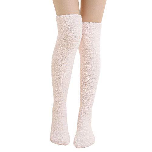 Fatchot Damen Luxus Feder Mesh Fleece Stickerei Handtuch weich super kuschelig Socken ideal für Bett Socken, Herren, Rose, One Size