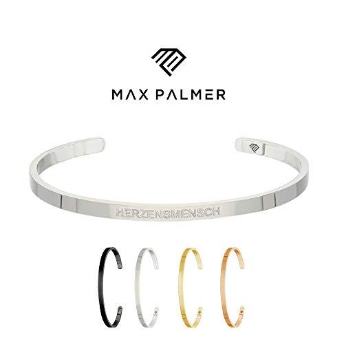 Max Palmer | Armband/Armreif mit Spruch - Gravur HERZENSMENSCH [01.] - Silber