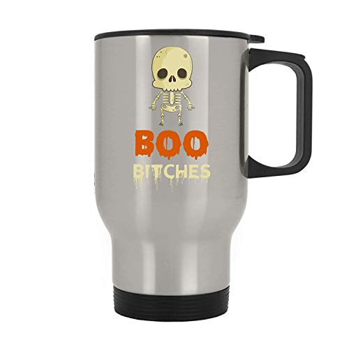 Boo Bitches Skeleton Gift For Halloween, Best Halloween, Happy Halloween, Funny Halloween - 11 oz Stainless Steel Travel Mug By Mirasuper