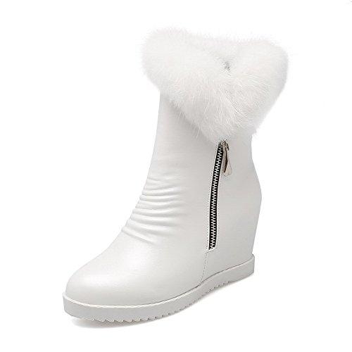 VogueZone009 Damen Reißverschluss Hoher Absatz Pu Leder Rein Niedrig-Spitze Stiefel Weiß
