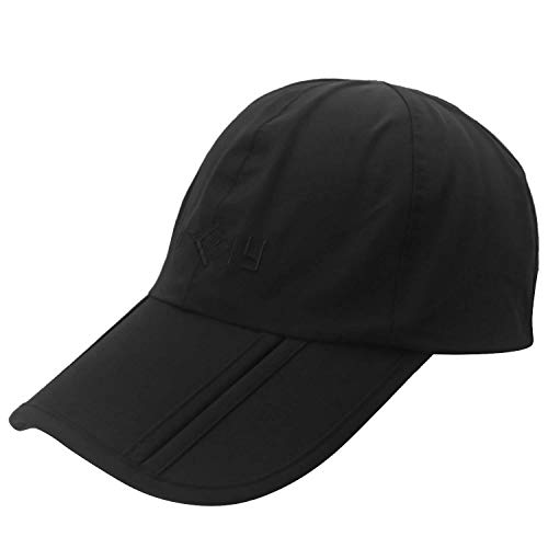 Baseball Sport Cap Mit Windschutz Clip Wasserdicht Einstellbar Baseball Caps Classic Kappen Hut Partner Cap Hip Hop Hut Unisex Tragbar Faltbare Jungs (Color : Schwarz, Size : One Size)
