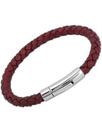 Unique & Co. Men's 19cm Antique Rust Leather Bracelet with Stainless Steel Clasp
