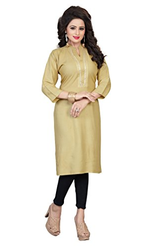 vaikunth fabrics Women's Rayon Beige Kurta (Vff-Kuu-35-38_38)
