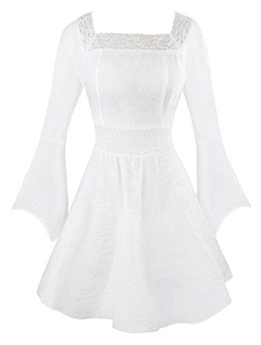 Charmian Women's Victorian Gothic Tencel Cotton Lace Corset Top Tunic Dress White Medium (Lace Victorian Kleid)