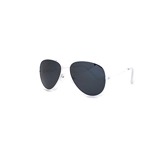 rille Sonnenbrille 70er Jahre Herren & Damen Sunglasses Fliegerbrille verspiegelt (Weiss / Schwarz) ()