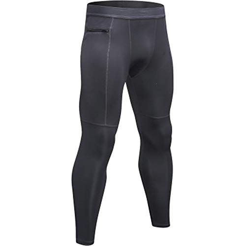 Mens Skin Soother (GIRlAA Men Yoga Pants Stretch Compression Legging Tights Zipper Pocket Sweatpants Sweat Quick-Drying Running Yoga Pants x1L)
