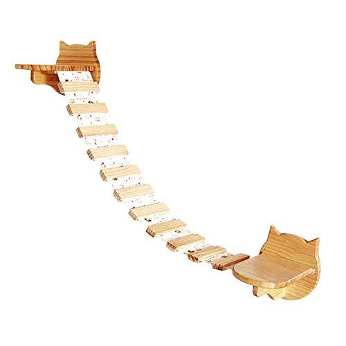 Hecho de madera de radiata de alta calidad de Nueva Zelanda con alto estándar, pulido con una superficie lisa, no tóxico, sin olor, duradero. Este juego de perchas de madera para gatos de pared incluye 2 estantes flotantes de madera unidos con un est...