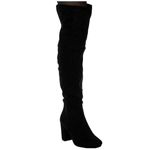 Angkorly Damen Schuhe Oberschenkel-Boot - Reitstiefel Kavalier - Flexible - Biker Blockabsatz High Heel 8 cm Schwarz