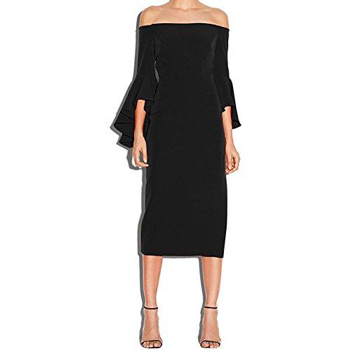 rfrei Reich Lange Kronleuchter schwarz Verschieben Sie Midi Kleid Bodycon, M (Flapper-kleid Im Store)