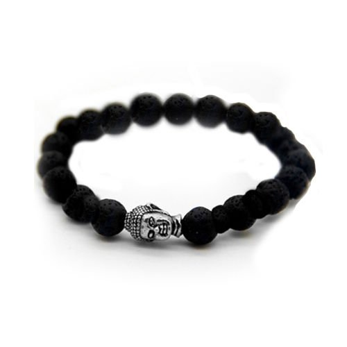 Lord Buddha Peace Hand Charm natural stones Lava stone beads men women Bracelet
