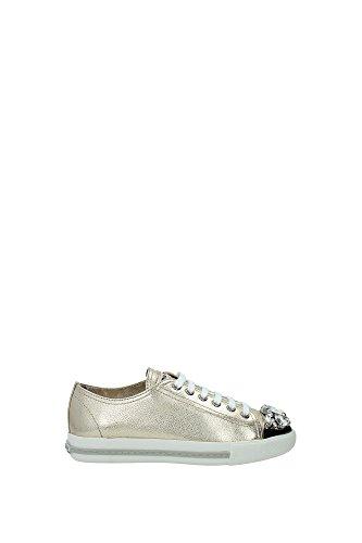 Sneakers Miu Miu Donna Pelle Oro e Argento 5E8557PIRITE Oro 35EU