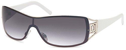 Sonnenbrille Monoscheiben Brille Damen Herren Sonnenbrillen Retro B552, Rahmenfarbe:Weiß