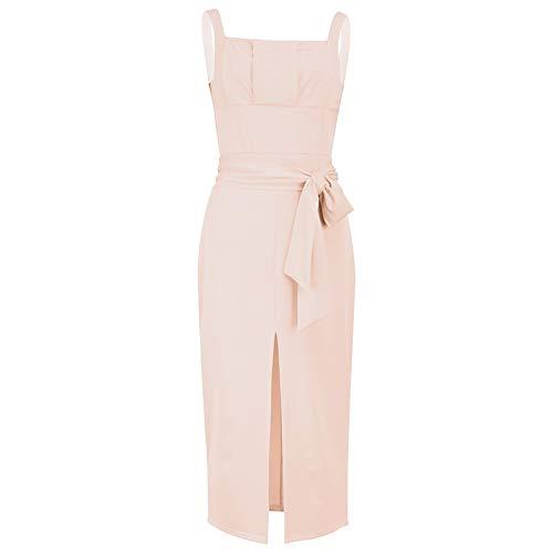 XGDLYQ Solid Sqaure Kragen Verband Split Kleid Frauen Sleeveless Strap Kleider Elegantes Büro Kleid XL Apricot Apricot Sleeveless