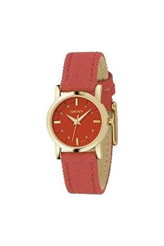 DKNY ny4523 mm Gold Tone Case Red Canvas Mineral Women's Watch