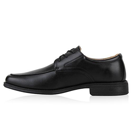 Klassische Herren Halbschuhe   Business Schuhe Schnürer   Schnürschuhe Leder-Optik   Basic Look Schwarz