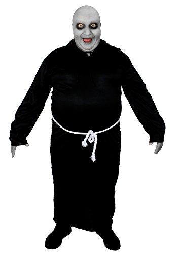 Déguisement pour adulte de l'oncle le plus célèbre de la famille gothique avec une robe de moine à capuche + une perruque chauve + du maquillage. Idéal pour les enterrements de vie de garçon ou les fêtes d'Halloween. ( Small )