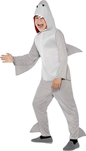 Halloween Alle Kostüme Kids'halloween Kinder Kostüme (Smiffys Kinder Unisex Haifisch Kostüm, All-in-One mit Kapuze und Flossen, Größe: S,)