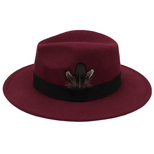 Hut, Herbst und Winter Frauen Fedora Hut Sombrero Haarige Kopftuch Wollmütze Sonnenschirm Jungen Hohe Qualität Hüte (Farbe : Weinrot, Größe : 56-58cm)