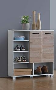 Maison Concept Wooden Shoe Organizer, White/Brown, H37.5 x W88 x D18.5 cm