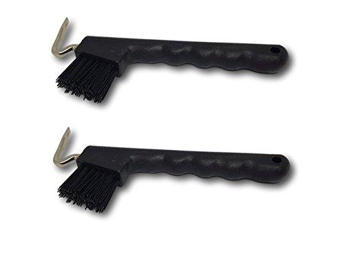 Hufkratzer für Pferde Esel Ziegen Huf mit extra stabiler Bürste und ergonomischen Griff (2x schwarz)