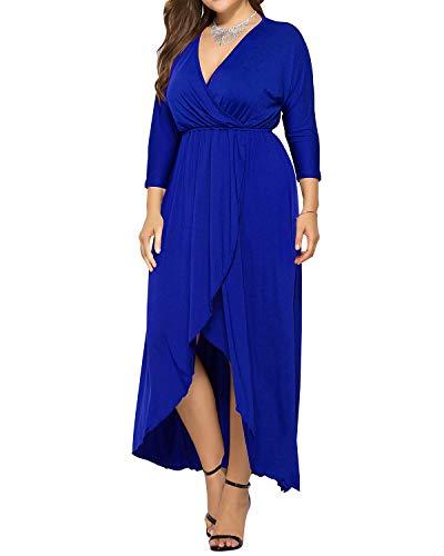 AUDATE Damen Beiläufige Lose Maxi Kleid Fledermaus Ärmel Einfarbig Übergröße Kleid Saphirblau DE 48 (Rote Hochzeits Kleider Plus Größe)