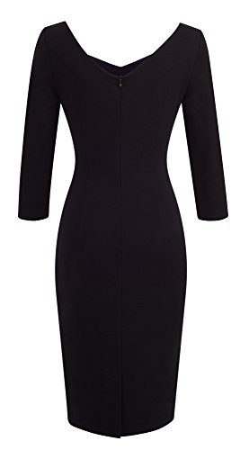 Frauen 3/4 Ärmel Knielangen Farbblock Casual Business Bodycon Kleid B411 HOMEYEE Weiß