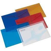 Rexel - Paquete de 6 sobres de plástico con broche, colores surtidos