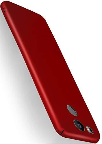 MoEx® Coque de Protection Ultra Fine Compatible LG Google Nexus 5X | Rigide, Rouge Mat métallisé