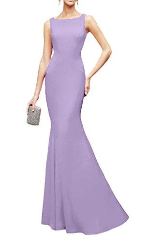 La_Marie Braut Elegant Chiffon Spitze Brautjungfernkleider Partykleider Abendkleider Schmaler Schnitt Bodenlang Lilac