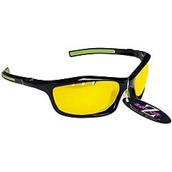 RayZor Professional Lunettes de soleil de sport Noir UV400Tir à l'arc, ultra léger avec un système anti-goutte Filtres lumière jaune transparent anti-reflet Objectif