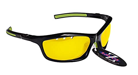 RayZor Professional Lightweight UV400 Black Sports Wrap Golf Sunglasses, With a Vented Light Enhancing Clear Yellow Anti-Glare Lens by