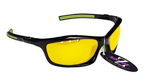 RayZor Professional leichte UV400schwarz Sports Wrap Running Sonnenbrille, mit einem belüfteten Light Enhancing Clear gelb Blendfreie Objektiv