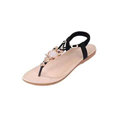 HARRYSTORE Frauen Eule Form Strass Sandalen Clip Toe Sandalen Strand Schuhe (40) (Brown Sandalen Junioren)