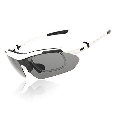 Polarisierte Sonnenbrille mit UV-Schutz Herren Polarisierte Sport Sonnenbrille Mit 5 stücke Wechselobjektiven Outdoor Radfahren Baseball Laufen Angeln Fahren Golf Superleichtes Rahmen-Fischen, das Gol