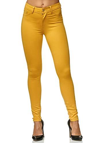 Elara Damen Stretch Hose | Skinny Jegging | Slim Fit | Chunkyrayan H01-28 Yellow 42