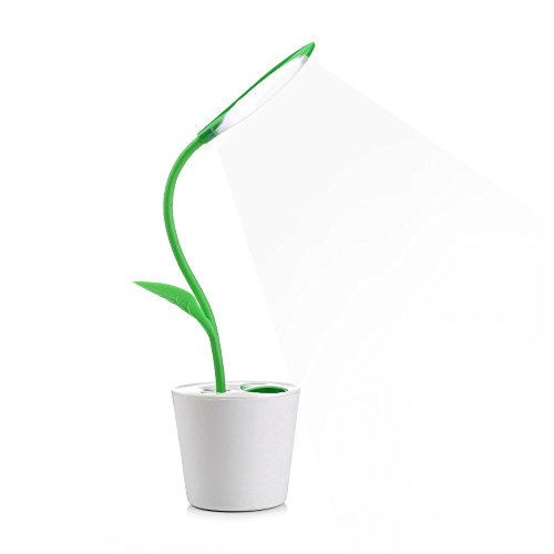 iEGrow Flessibile USB Tocca LED Lampada Da Scrivania Con 3-Level Dimmerabile e Decorazione Pianta Portamatite (Verde Scuro)
