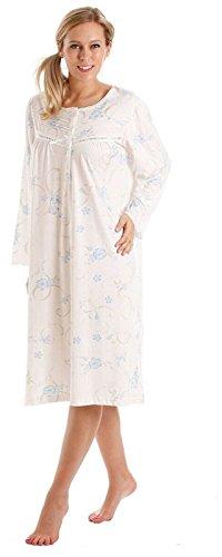 Donna Floreale Jersey misto cotone camicia da notte Camicia da notte & Pigiama - Disponibile in taglie 10-36 Blu - manica lunga