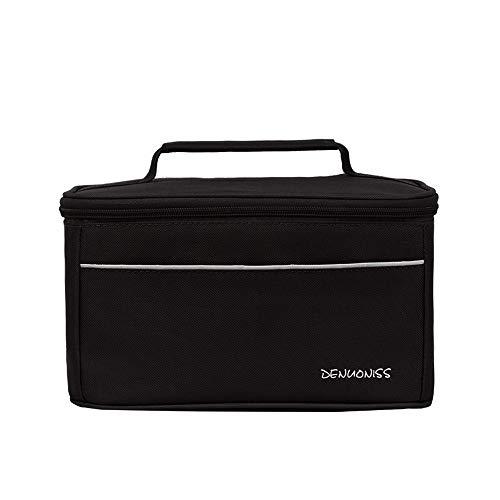 7Lucky Lunch-Tasche, Oxford-Material mit isolierender Aluminium-Folie, Kühltasche für Reise, Schule, Mittagessen, mit Tragehenkel 8L (Schwarz)