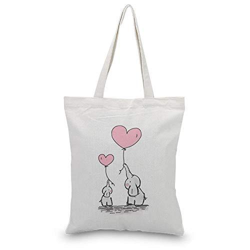 Canvas Tasche Umhängetasche, Fashion Cartoon Elephant Print Weiß Casual Tote, Faltbare Wiederverwendbare Einkaufstasche 34X39Cm P13 - Print Große Shopper-handtasche