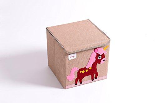 trureey Brust Aufbewahrungsbox mit Deckel, Leinen, stabil, zusammenklappbar, und einfach zu reinigen, Spielzeug Aufbewahrungsbehälter, 33cm Einhorn