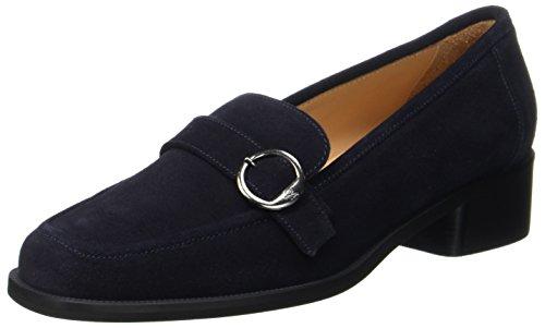 Marc O'Polo Damen Mid Heel Loafer 70714142201303 Slipper, Blau (Navy), 38.5 EU (Leder-loafer Navy)