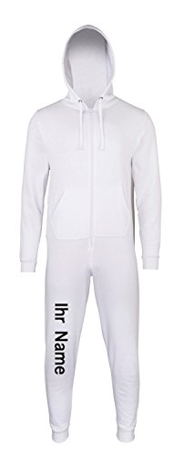 Sofasurfer® Overall Sweatoverall Jumpsuit Jumper mit und ohne Druck white (mit Ihrem Namen)