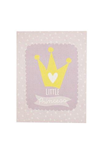 """Aminata Kids Teppiche Prinzessin Krone Kinderzimmer Mädchen 95x125 cm * Made in Europe * rutschhemmend lärmhemmend* Kinderteppich Lila """"little princess"""" Spielteppich Spielunterlage Babyzimmer"""