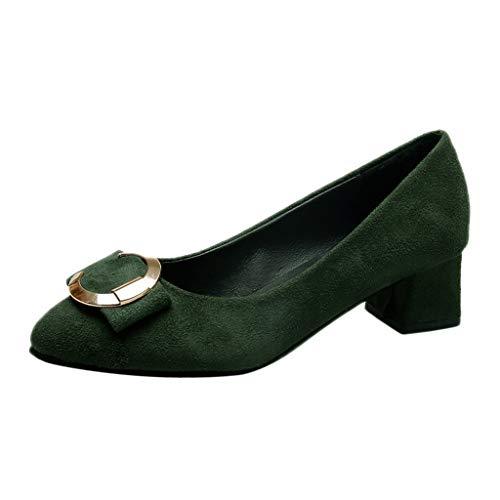 ZIYOU Basic Pumps für Frauen Damen Metallknopf Spitze Zehe Quadratische Fersen Römische Einzelne Schuhe Mary Janes Halbschuhe Wildleder (Grün,40 EU)
