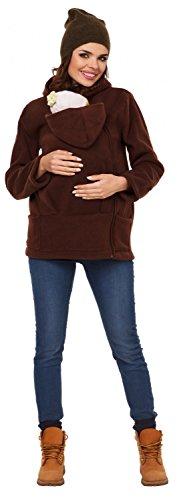 Zeta Ville - Damen Top Sweatshirt mit Kapuze Schwangerschafts Babytragens - 031c Braun